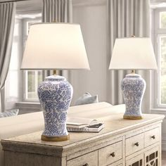 "Spring Blossom 29"" Blue/White Table Lamp Set (Set of 2)    #White #decor #home #interior #design Blue Table Lamp, Table Lamp Sets, Blue And White Lamp, White Lamps, Swing Arm Floor Lamp, Floral Room, White Houses, Panel Curtains, Home Accessories"