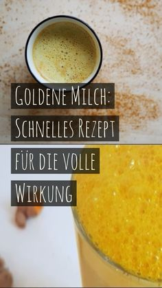 "Golden milk: quick recipe for full Goldene Milch: Schnelles Rezept für die volle Wirkung The bright yellow turmeric drink "" Golden milk "" is said to have healing effects. Here you can find out how to make the golden milk and how healthy it is. Healthy Juice Recipes, Healthy Eating Tips, Healthy Dessert Recipes, Detox Recipes, Quick Recipes, Smoothie Recipes, Clean Eating, Turmeric Drink, Salad Dishes"