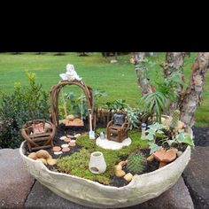 Your very own little fairy garden!!! Too cute, I want to make one...