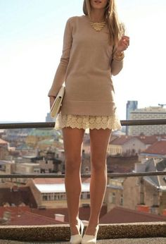 long sweater + lace skirt