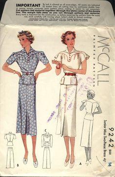 """1930's McCall Pattern 9242; 1937; Size 14 Bust 32"""" Waist: 27"""" Hip 35"""""""