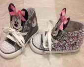 Minnie Mouse custom crystal and pearl infant/toddler converse