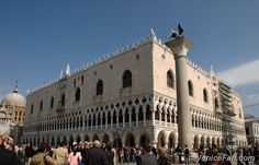 Palazzo Ducale (Doge's Palace) and the Saint Mark's lion column, Venice, Italy
