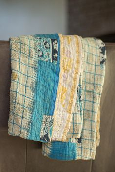 """Freeze"" handmade kantha quilted blanket, made from recycled saris, by at-risk women and former trafficking victims in Bangladesh."