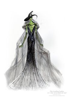 """womensweardaily: """"Designers Dress the Ladies of 'Oz' Photo by Donna Karan & Turner Entertainment Co Donna Karan's sketch for """"The Wizard of Oz"""" Wicked Witch doll. """""""