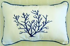 Blue Coral Pillow oblong - Home By the Seashore - $39