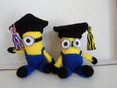 Minion Inspired Graduation Crochet Doll by KristensKords on Etsy, $20.00