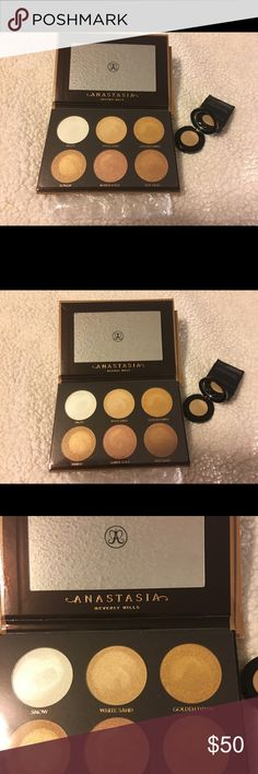 Anastasia Ultimate Glow kit & blonde brow powder Bnib blonde brow powder and bnib ultimate glow kit. The glow kit has been swatched once. The glow kit has some sparkle/glitter to it. Anastasia Beverly Hills Makeup