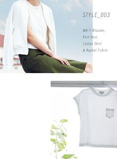 STYLE_003 MA-1 Blouson, Knit Vest, Cotton Skirt&Rashel T-shirt