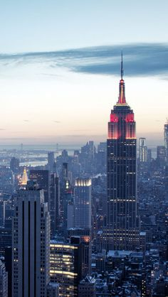 Empire State, New York, at dusk.