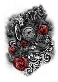 Clock to be Sea Tattoo Full Sleeve Tattoos, Back Tattoos, Tattoo Sleeve Designs, Tattoo Designs For Women, Future Tattoos, Leg Tattoos, Body Art Tattoos, Cool Tattoos, Mangas Tattoo