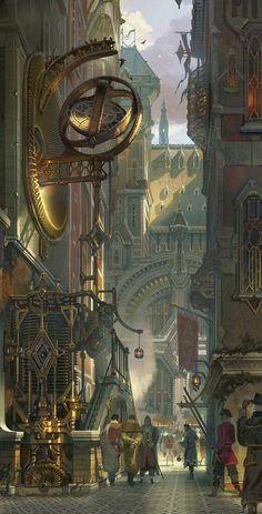 die drukken atmosphere en die steampunk architectuur door de oude gebouwen heen geeft een prachtig environment weer waar ik zo zou willen kunnen gebruiken