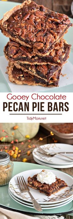 Fingers were licked, not a crumb left on a plate. This pecan pie bar recipe just may replace the pie altogether. Gooey Chocolate Pecan Pie Bars recipe at http://TidyMom.net