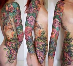 Fox and Floral. Gorgeous full side piece and sleeve..