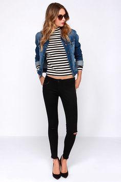 black distressed jeans, denim jacket and stripes