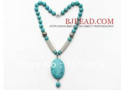 New Fashion Green Turquoise Necklace with Oval Shape Turquoise Pendant and Metal Spacer Beads  Free Shipping