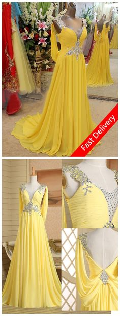 Long Yellow Prom Dresses 2015 V Neck Sleeveless Crystal Chiffon Real Photo Cheap Us Size 2 4 6 8 10 12 In Stock, US $59.99 - 109.99! Buy the dress from here and contact customer service, you will get US $5 off!