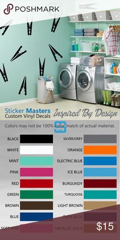 """Clothespins Wall Decals Set Of 10, Laundry sticker LAUNDRY ROOM DECALS 10 SIZE 6"""" TALL BY 2"""" WIDE  ☆CONTACT ME FOR CUSTOM DESIGNS☆  ☆COLOR☆ Choose from 16 colors listed in the 2nd photo in listing at check out add your color to notes or default black will be sent   ☆MATERIAL☆ Oracal 641 Premium Vinyl  ☆VINYL PRODUCT DETAILS  - Rated for Indoor or Outdoor use - Dishwasher safe 24 hrs after application - Easy Peel & Stick Application - Easy to Remove - UV / Fade Resistant - Adhesive on the…"""
