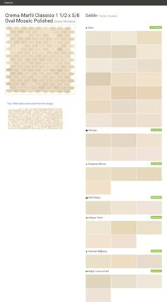 Crema Marfil Classico 1 1/2 x 5/8 Oval Mosaic Polished. Stone Mosaics. Trendy mosaics. Daltile. Behr. Olympic. Benjamin Moore. PPG Paints. Valspar Paint. Sherwin Williams. Ralph Lauren Paint.  Click the gray Visit button to see the matching paint names.