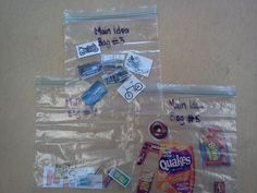 main idea bags - students look at items in bag, determine what they have in common, and write the main idea and supporting details of the bag!