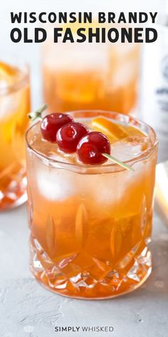 Wisconsin Brandy Old Fashioned Skip the supper club and make this classic cocktail at home. This Wisconsin brandy old fashioned recipe can be made sweet or sour. Swap whiskey if you want, just don't forget the cherries. Brandy Old Fashion Recipe, Brandy Old Fashion Sweet, Brandy Recipe, Old Fashion Cocktail Recipe, Recipe Recipe, Brandy Cocktails, Classic Cocktails, Alcoholic Cocktails