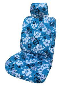 Blue Aloha Honu Separate Headrest Hawaiian Car Seat Cover