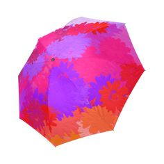 Gorgeous Purple, pink and orange flowers Foldable Umbrella by Khoncepts