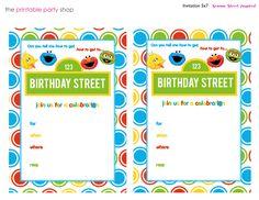 Sesame Street Printable Invitation DIY Fill In The Blank Free Via Printablepartyshop Birthday InvitationsElmo