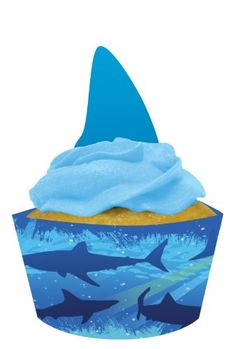 Creative Converting Shark Splash Cupcake Pick Decorations with Matching Baking Cup Wrappers, 12 Count