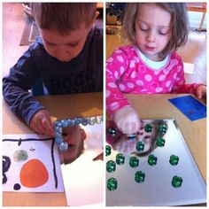"""Interpreting a chosen Joan Miro piece with coloured stones onto a reflective surface at Acorn School ("""",)"""