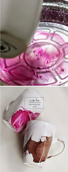 Watercolor Mug DIY. What a great holiday gift idea.