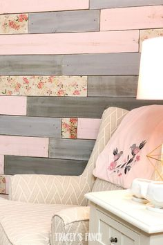 A Metallic Wood Plank Wall with a Floral Twist for a Baby Girl's Nursery Here's a new version of my signature metallic accent wall for a baby girl's room. This one is a floral plank wall with hints of flowers and sweet colors. Wood Plank Walls, Wood Planks, Wood Wall, Accent Wall Bedroom, Bedroom Decor, Accent Walls, Ship Lap Accent Wall, Decor Room, Bedroom Ideas