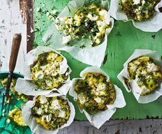 These gluten-free green power mini frittatas are great for vegetarians. Packed with spinach, leek and goat's fetta, they make a healthy breakfast or dinner option. Vegetarian Cooking, Vegetarian Recipes, Cooking Recipes, Savoury Recipes, Vegetarian Lunch, Savory Snacks, Pie Recipes, Healthy Snacks, Creamed Spinach