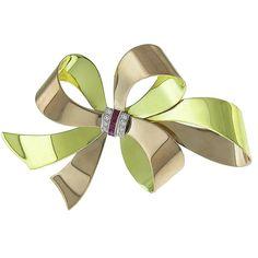 Retro 1940s 0.25ct Square Calibre Cut Ruby 0.15ct Round Cut Diamond  14k Green & Pink Gold Bow Pin.