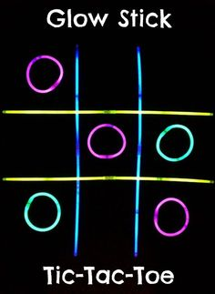 How to Play Glow Stick Tic-Tac-Toe (great for glow party activity! 13th Birthday Parties, Birthday Party Games, Slumber Parties, Birthday Ideas, Diy Birthday, Sleepover Party, Sleepover Games Teenage, Bonfire Birthday Party, Outdoor Birthday