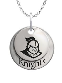 Solid sterling silver Central Florida Knights layered charm set.