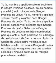 Spanish prayer of Precious Blood of JESUS