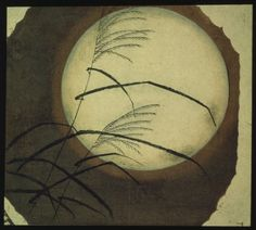 Wind Blown Grass Across the Moon			Hiroshige - by style - Ukiyo-e