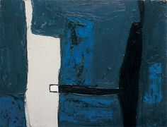 William Scott, [Blue, Black and White Landscape], 1953, Oil on hardboard, 21.3 × 28 cm / 8½ × 11 in, Private collection