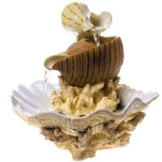 Bring the calming mood of the sea to any room in your home with our Seashells Tabletop Fountain. Homemade Water Fountains, Backyard Water Fountains, Water Pond, Table Fountain, Indoor Fountain, Small Fish Pond, Sand Collection, Indoor Water Features, Coastal Christmas Decor