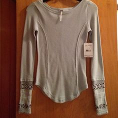 🌟New Baby Blue Free People Thermal XS Brand New Baby Blue Free People Thermal cuff  XS Flawless Free People Tops