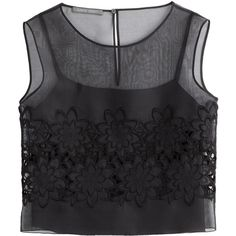 Alberta Ferretti Semi-Sheer Top with Embellishment (21.215 RUB) ❤ liked on Polyvore featuring tops, crop tops, shirts, tank tops, black, sleeveless tops, embellished tops, floral shirt, sheer top and sleeveless crop top
