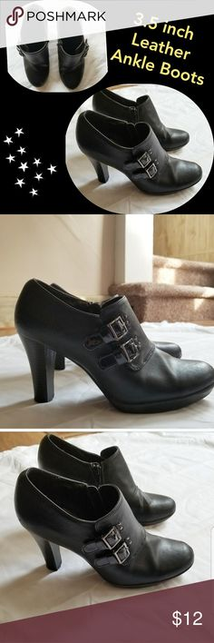 Leather Ankle Boots⭐ 3.5 inch Heel ⭐ Size 9 💕Black leather ankle boots. Minor scratches at the toes. 3.5 inch heel.  💕Bundle your likes for private Offers! 🤔😀 Sole Sensibility Shoes Ankle Boots & Booties