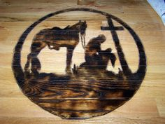 My First Wood Burning I did. For Cross Roads Cowboy Church. On top of the sound board.