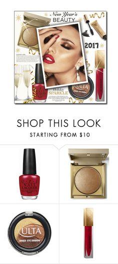 """#621 - NYE Beauty"" by lilmissmegan ❤ liked on Polyvore featuring beauty, OPI, Stila, KAROLINA, ULTA, Burberry, Jane Iredale, Beauty, NewYearsEve and holidaybeauty"