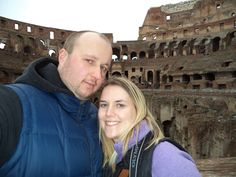 "Heritage Operations Manager Kayla and her husband at the Coliseum in Rome. She says, ""it has been on my bucket list forever so it was surreal being there."""