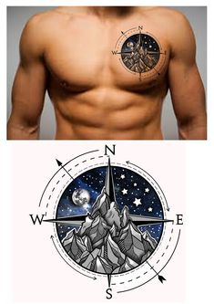 Compass Mountain Moon Star s Chest Tattoo Design. Hot Tattoos, Mini Tattoos, Unique Tattoos, Body Art Tattoos, Small Tattoos, Tattoos For Guys, Tatoos, Star Tattoos For Men, Tattoo Rose Des Vents