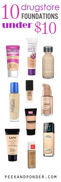 A list of 10 liquid drugstore foundations that can be found for under $10. Learn about them, their finishes, and where you can find them.