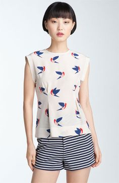 Marc By Marc Jacobs Finch Flight Print Silk Top in Blue (sandshell multi) Look Fashion, Fashion Outfits, Fashion Design, Couture, Silk Top, Casual Looks, Marc Jacobs, What To Wear, Style Me