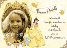 Custom Birthday Invitations- Disney Princess Beauty and the Beast theme